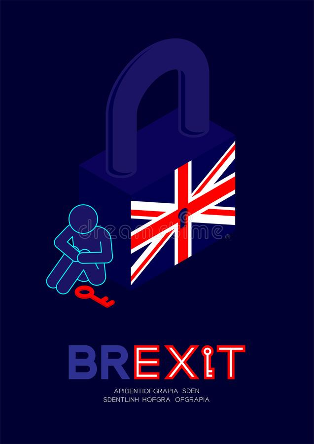 Man pictogram and question mark with key sitting beside isometric lock united kingdom flag pattern with keyhole, Brexit concept. Design illustration isolated on vector illustration