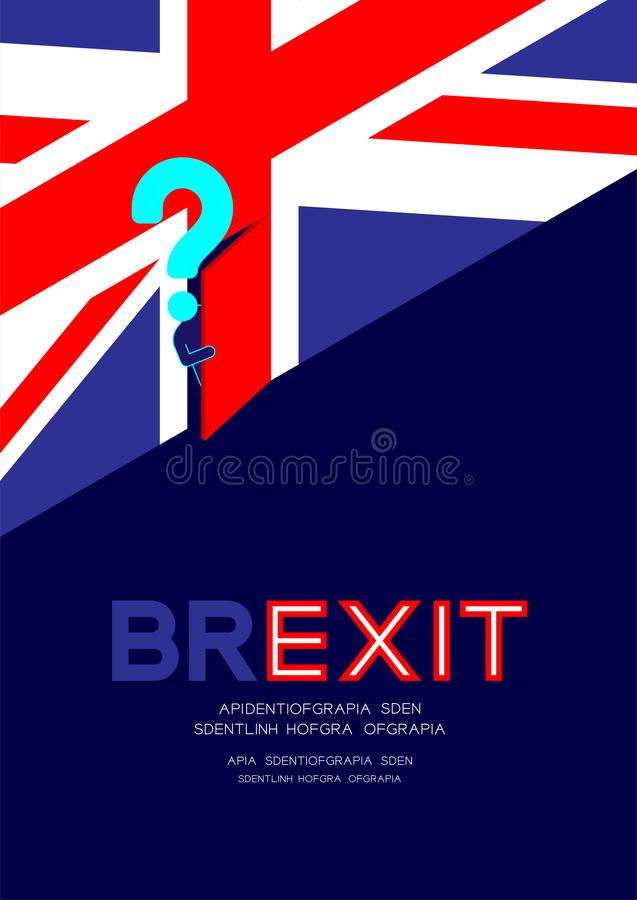 Man pictogram and question mark open the door on isometric united kingdom flag pattern, Brexit concept design illustration. Isolated on blue background with stock illustration