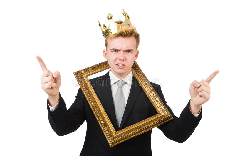 Man With Picture Frame Stock Photo