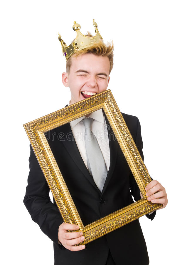 Download Man with picture frame stock photo. Image of passe, crown - 42203702