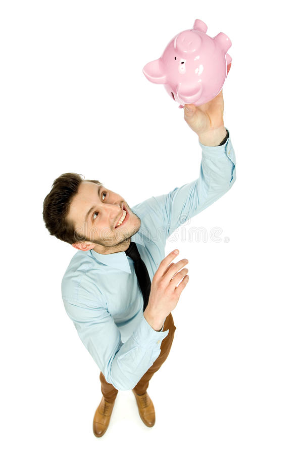 Download Man with piggy bank stock image. Image of shot, smiling - 24169299