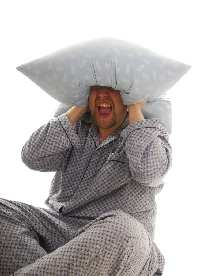 Download Man with pillow stock photo. Image of domestic, shout - 4351220