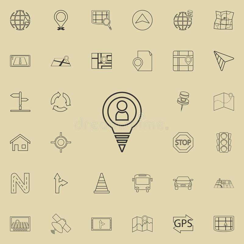 The Man in Pin icon. Detailed set of navigation icons. Premium quality graphic design sign. One of the collection icons for websit. Es, web design, mobile app on stock illustration