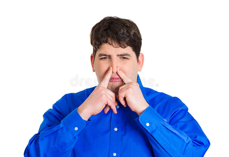 Download Man pinching his nose stock photo. Image of offensive - 40099108