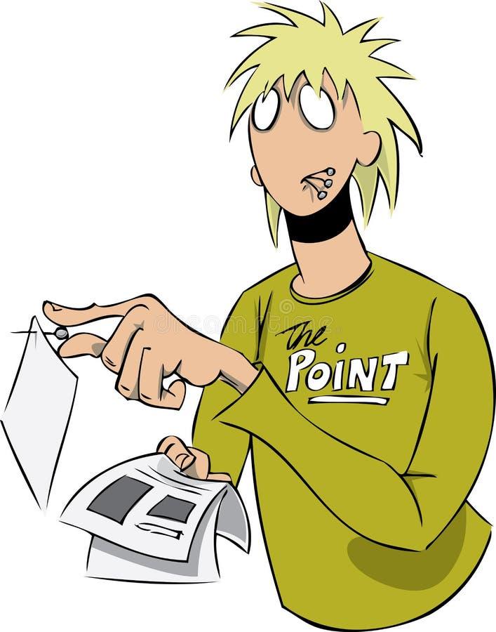 Man pinning notice vector illustration