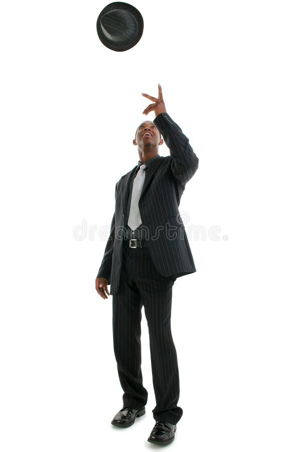 Download Man In Pinstriped Suit Throwing Hat Into Air Stock Photo - Image: 257150