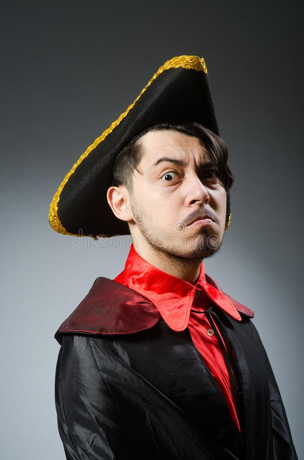 Man pirate against dark background royalty free stock images