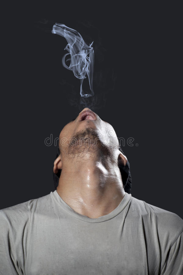 Download Man With Pistol Made Of Smoke Stock Photo - Image: 23013070