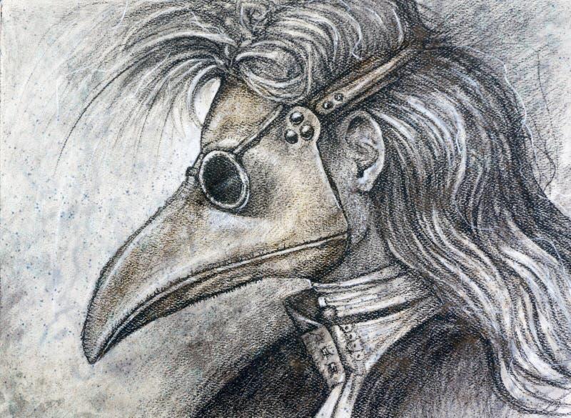Man in plague mask charcoal drawing stock photos
