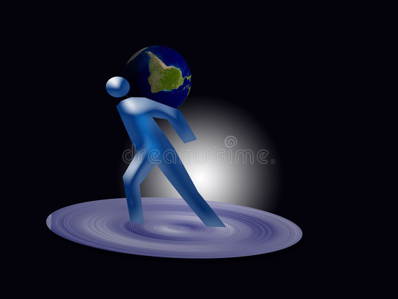 Man and planet earth vector illustration