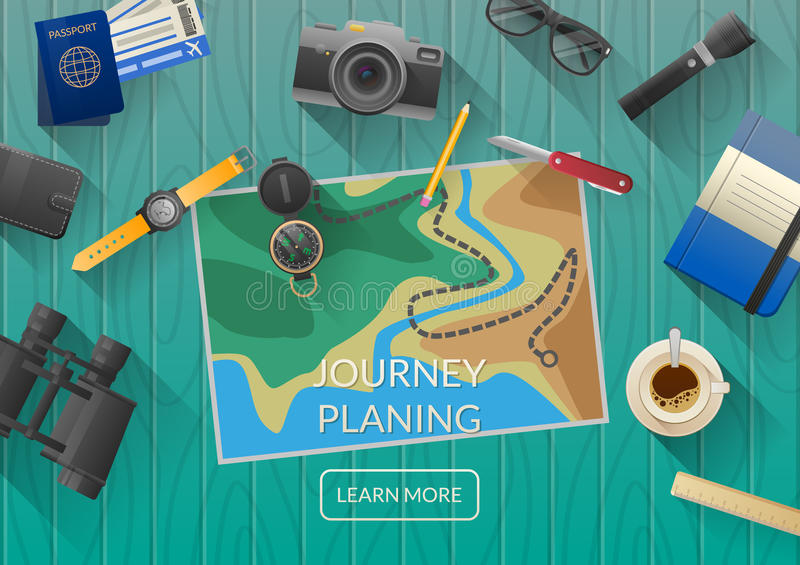 Man planning vacation trip with map. Top view. vector illustration
