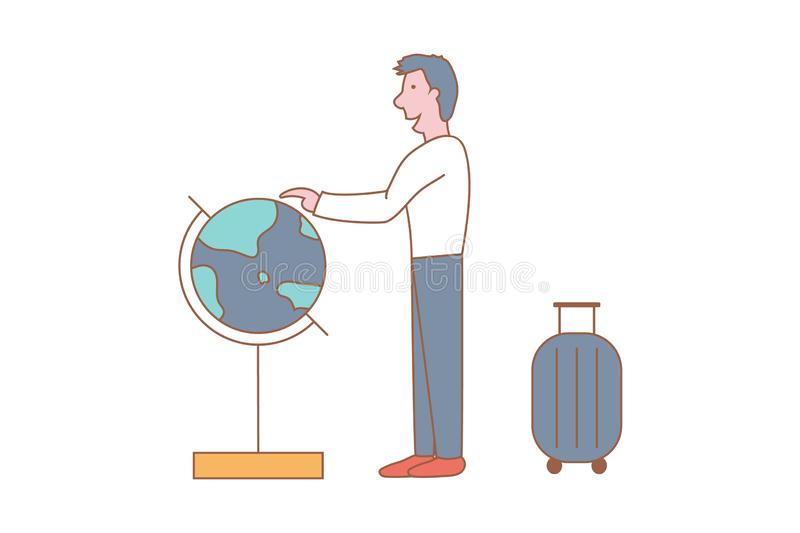 Man is planning where to go on a trip. Flat design style minimal vector illustration vector illustration