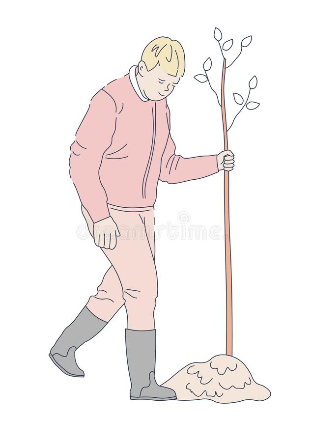 Man planting tree in garden isolated character royalty free illustration