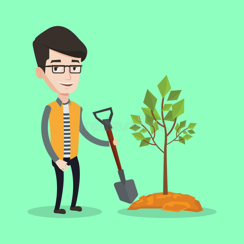 Man plants tree vector illustration. Happy man plants a tree. Cheerful man standing with shovel near newly planted tree. Young man gardening. Vector flat design vector illustration