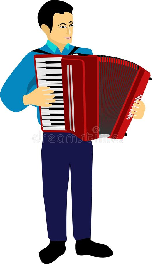 The Man Play Accordion Music Instrument. Man play accordion music instrument traditional classic object vector illustration graphic object red royalty free illustration