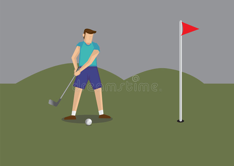 Man Play Golf Vector illustration. Vector illustration of a golfer holding golf club putting golf ball to a hole in golf course stock illustration