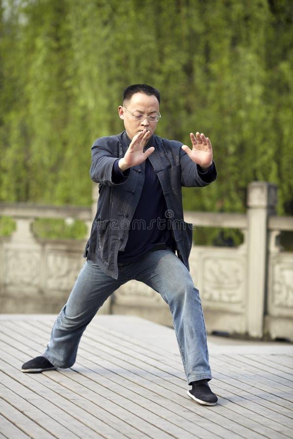 Man play taiji boxing stock image