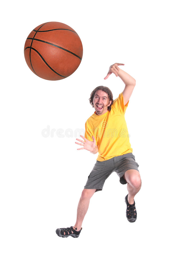Man playing basketball. Happy young man playing basketball isolated on white royalty free stock images