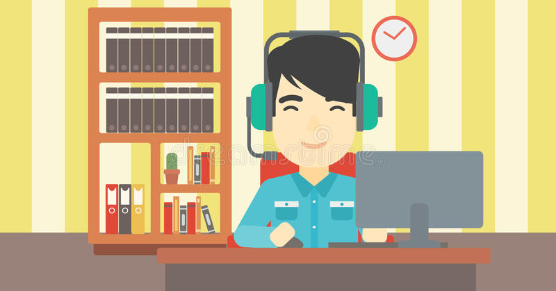 Man playing computer game vector illustration. Asian man playing computer game on the background of living room. Gamer in headphones playing online games. Gamer vector illustration