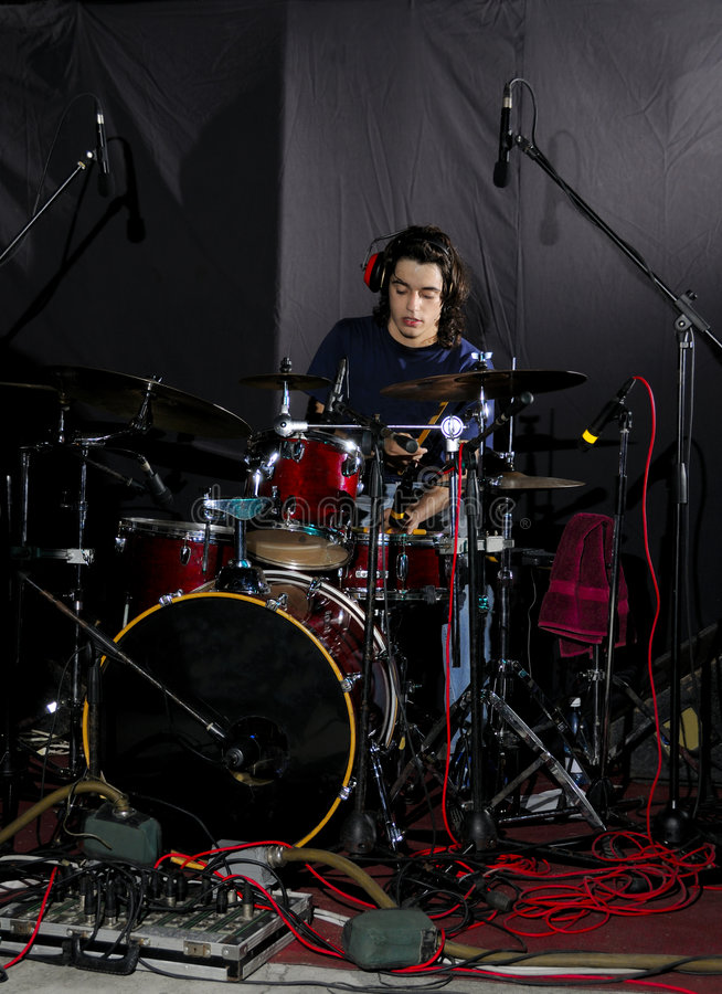 Man Playing The Drums Stock Photo
