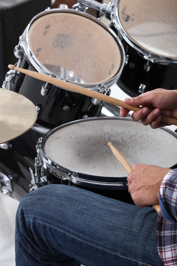 Man playing drums royalty free stock photo