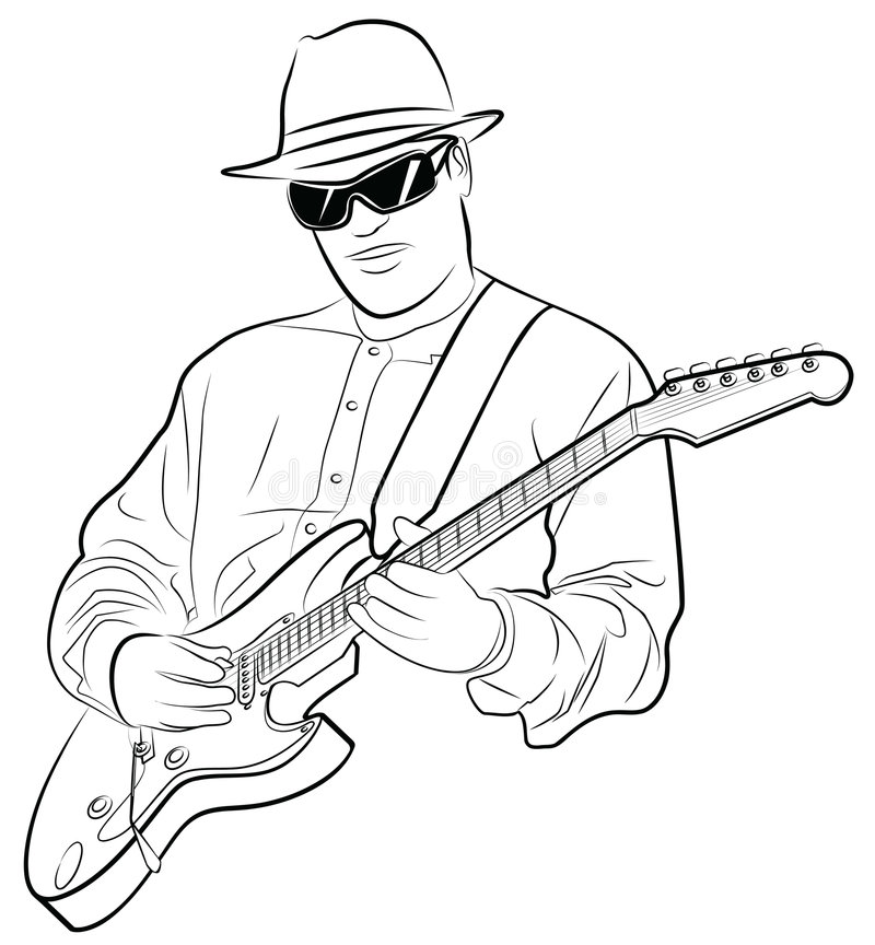 man playing electrical guitar stock vector