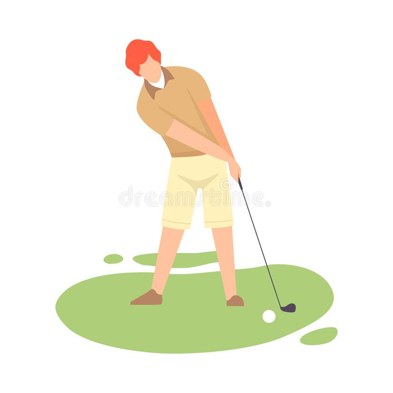 Man Playing Golf, Male Golfer Training with Golf Club on Course, Outdoor Sport or Hobby Vector Illustration royalty free illustration