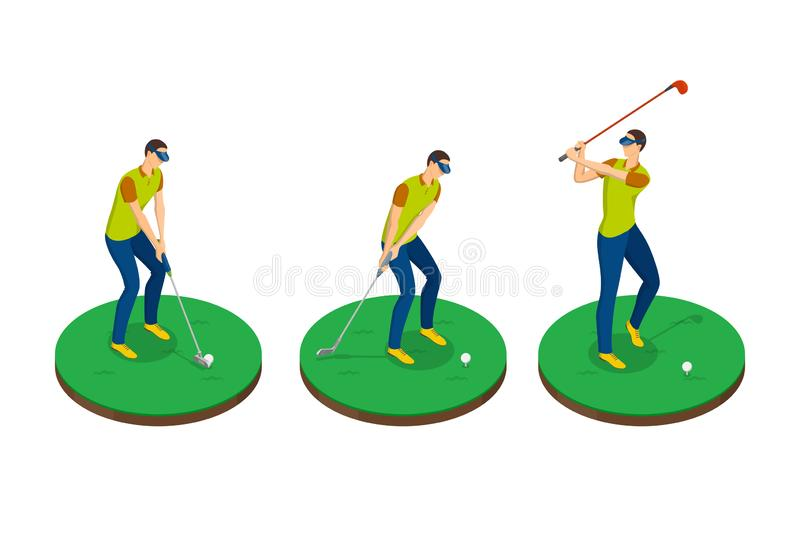 Man playing golf, vector 3d isometric illustration. Golf swing stages, isolated design elements vector illustration
