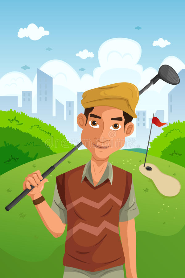 Download Man playing golf stock vector. Image of clipart, club - 32207661