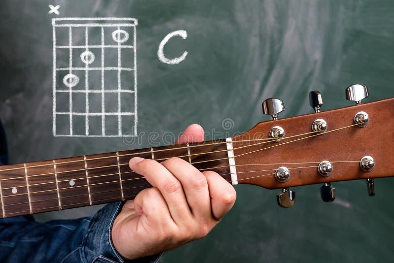 Man Playing Guitar Chords Displayed On A Blackboard, Chord C Stock ...