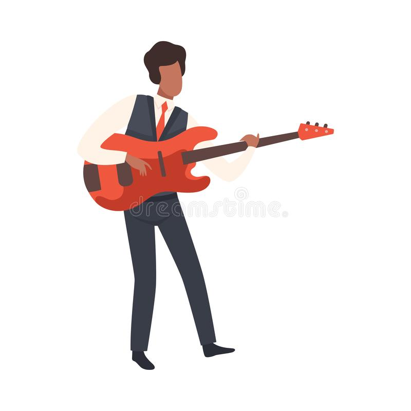 Man Playing Guitar, Male Jazz Musician Character in Elegant Clothes with String Musical Instrument Vector Illustration. On White Background royalty free illustration