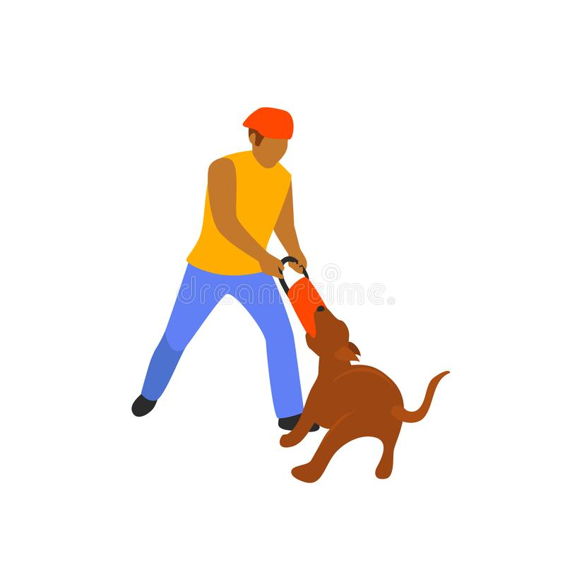 Man playing with his dog tugging game isolated vector. Illustration scene stock illustration