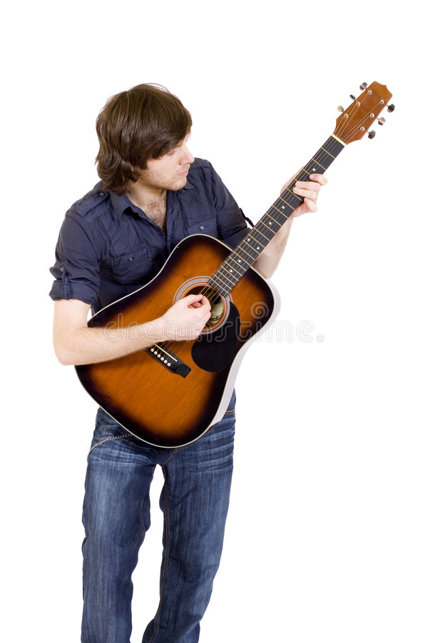 Man playing his guitar royalty free stock photos