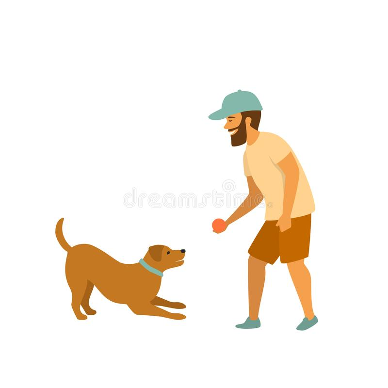 Man is playing with his pet dog fetching ball game stock illustration