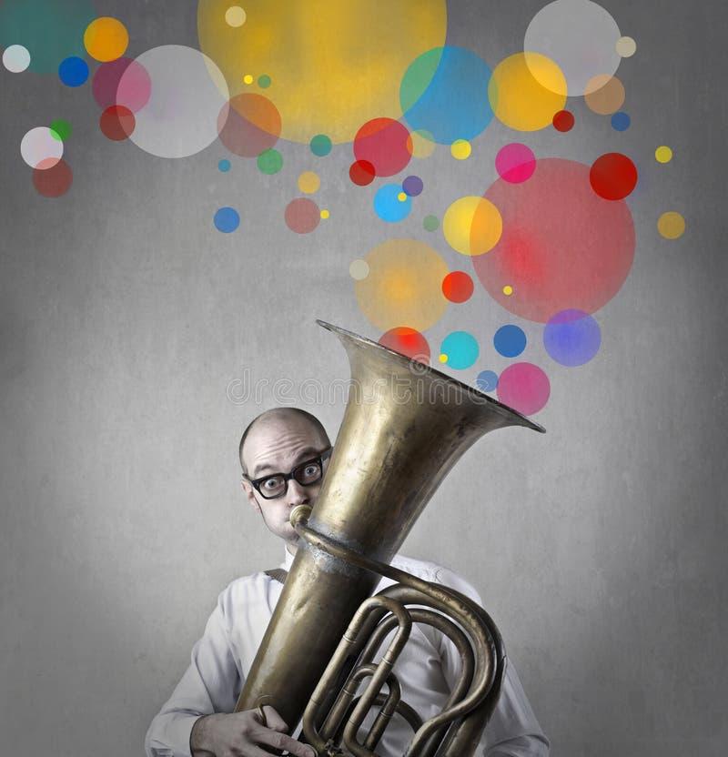 Man playing instrument vector illustration