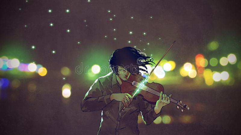 Man playing magic violin. In a night city outdoor, digital art style, illustration painting royalty free illustration