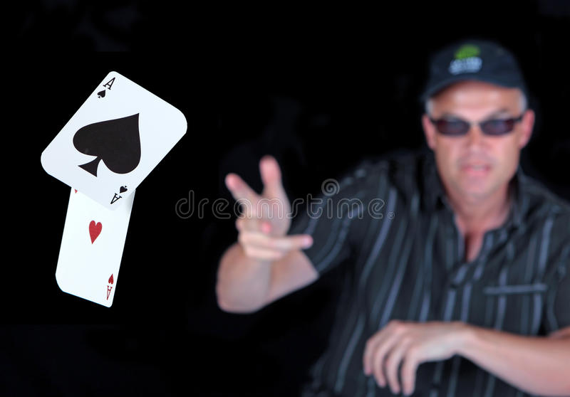 Download Man Playing Poker With Winning Aces Stock Photo - Image: 14892176
