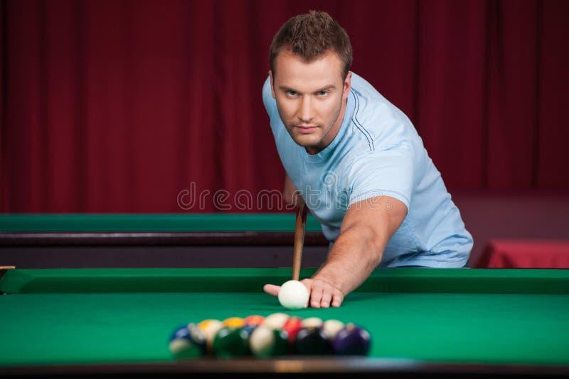 Download Man playing pool. stock photo. Image of holding, human - 33687040