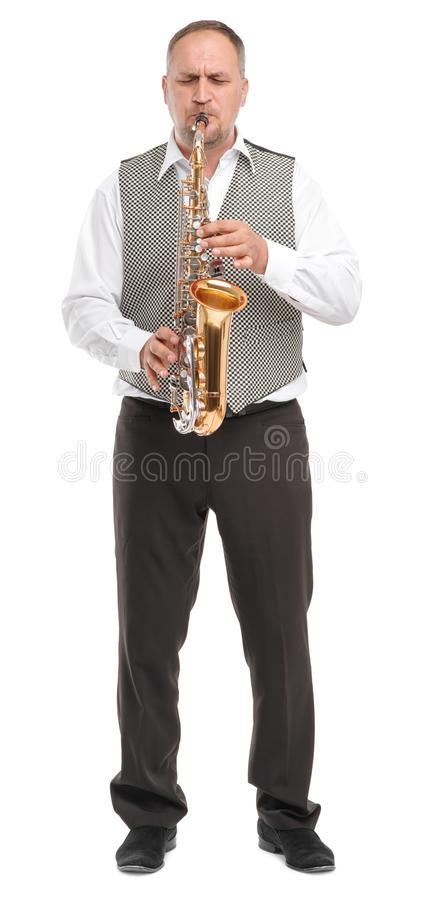 Free Man Playing Saxophone On White Isolated Background In Full Length Royalty Free Stock Photos - 103120218