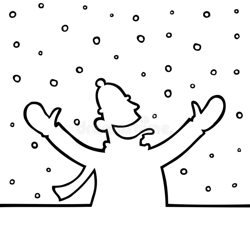 Man Playing With Snowflakes Royalty Free Stock Photography