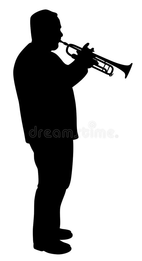 Man playing trumpet. Illustration silhouette of a man playing trumpet. Isolated white background. EPS file available vector illustration