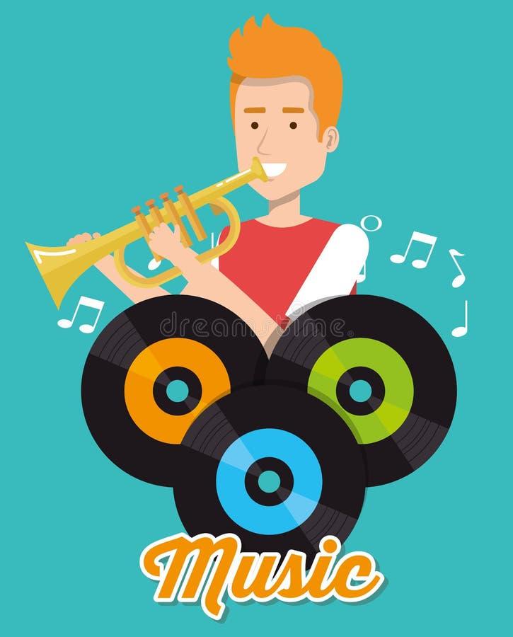 Man playing trumpet with vinyl disks. Vector illustration design stock illustration