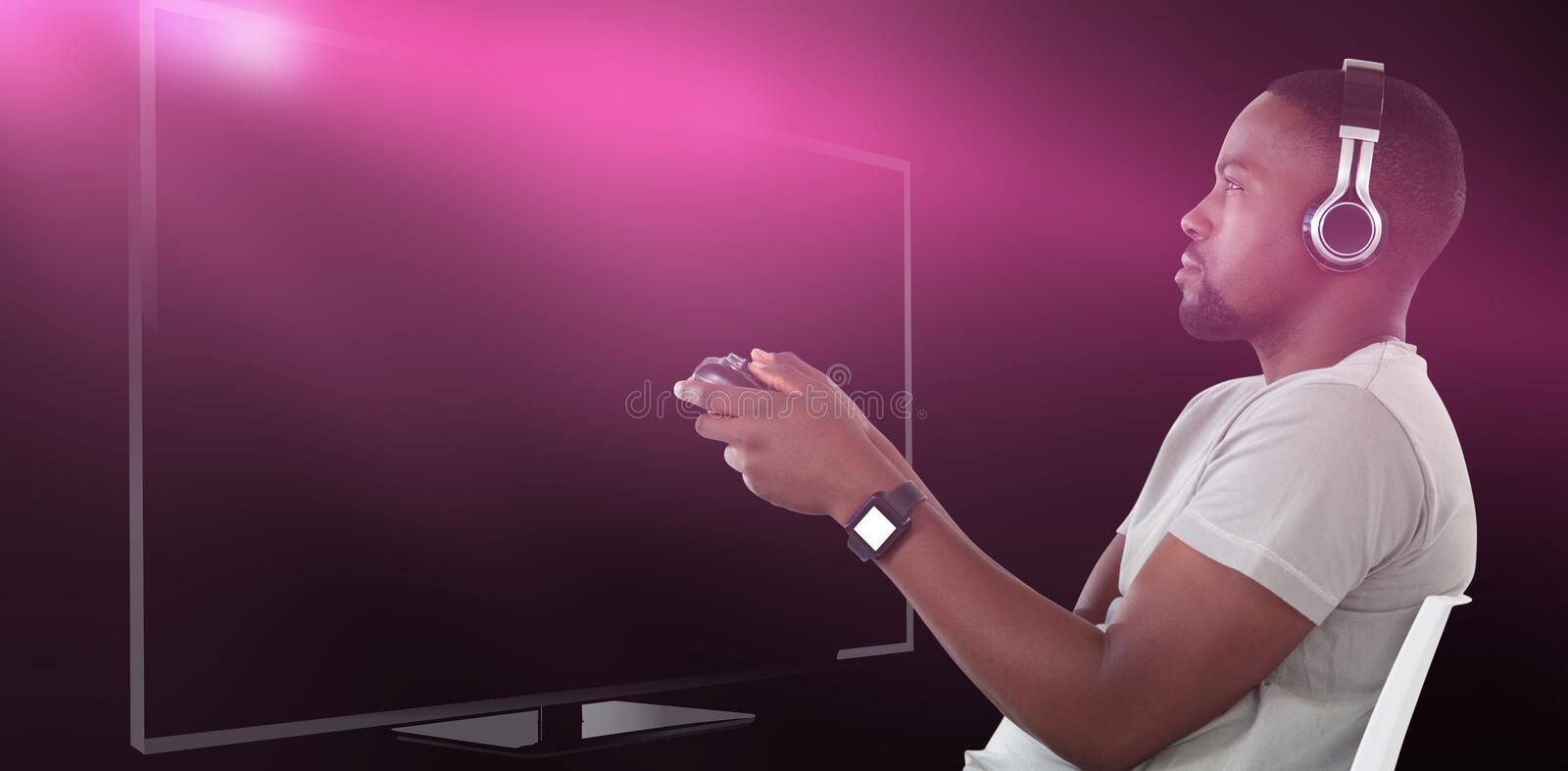Composite image of man playing video game against white background stock images