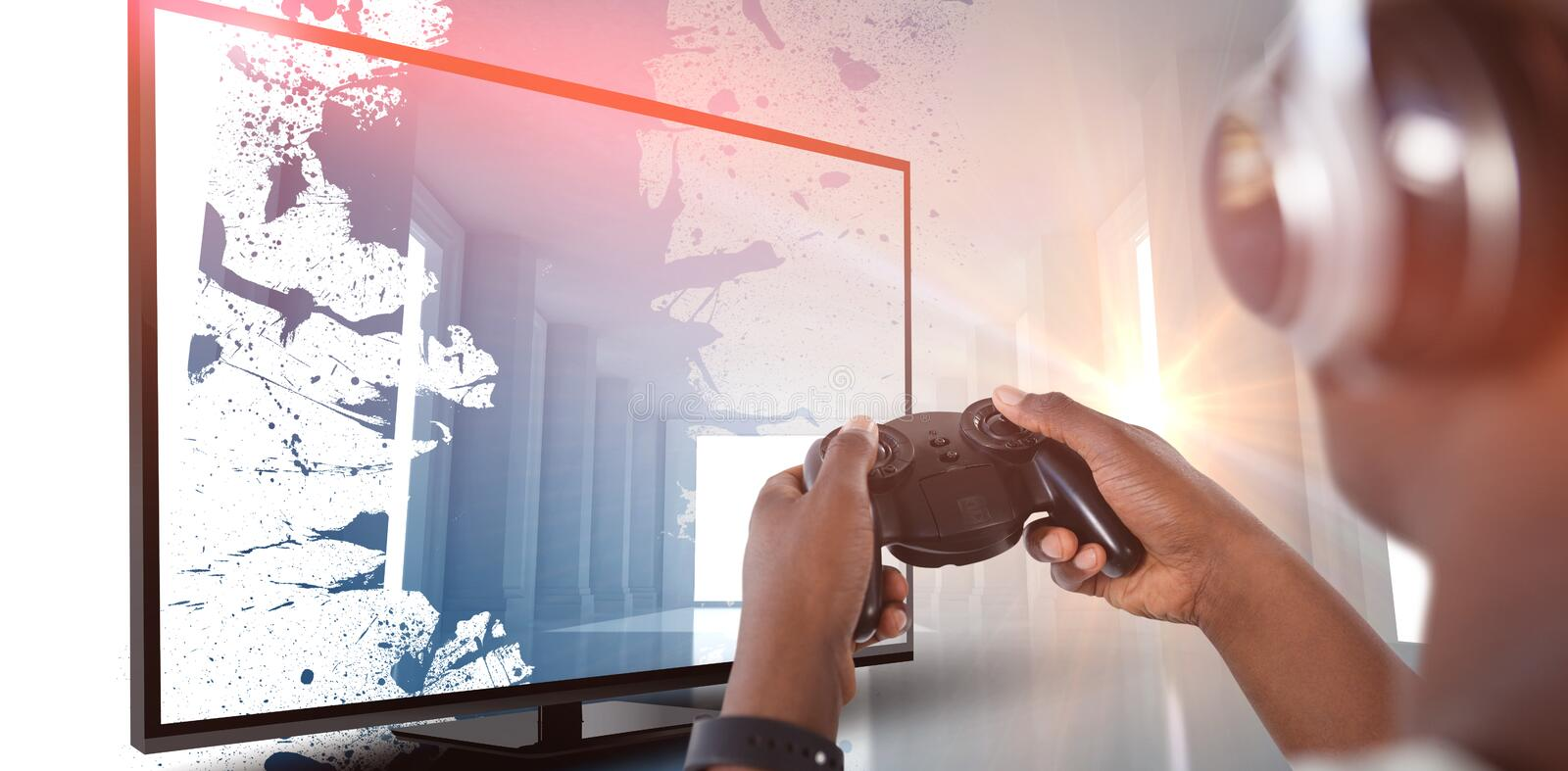 Composite image of man playing video game against white background royalty free stock image
