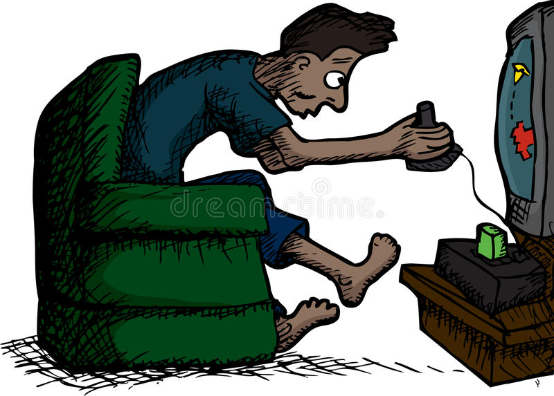 Man Playing Video Games vector illustration