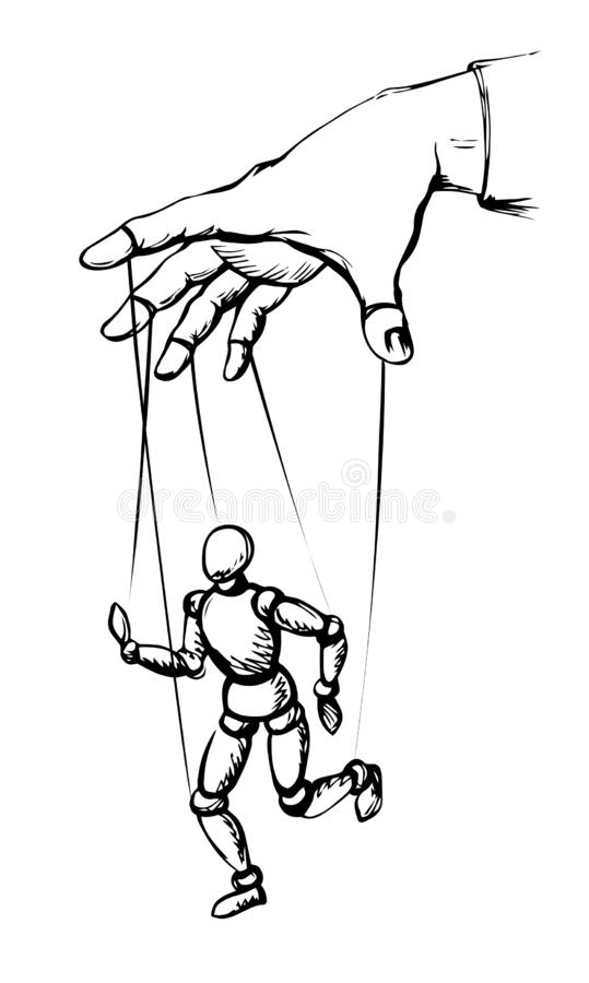 Free Man Plays A Puppet. Vector Drawing Stock Photo - 163999720