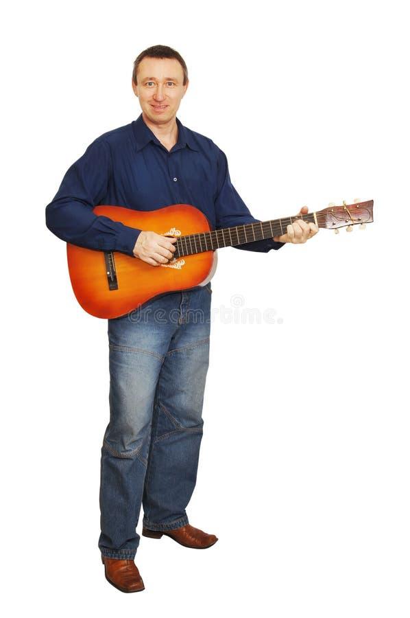 Man Plays A Guitar Stock Image