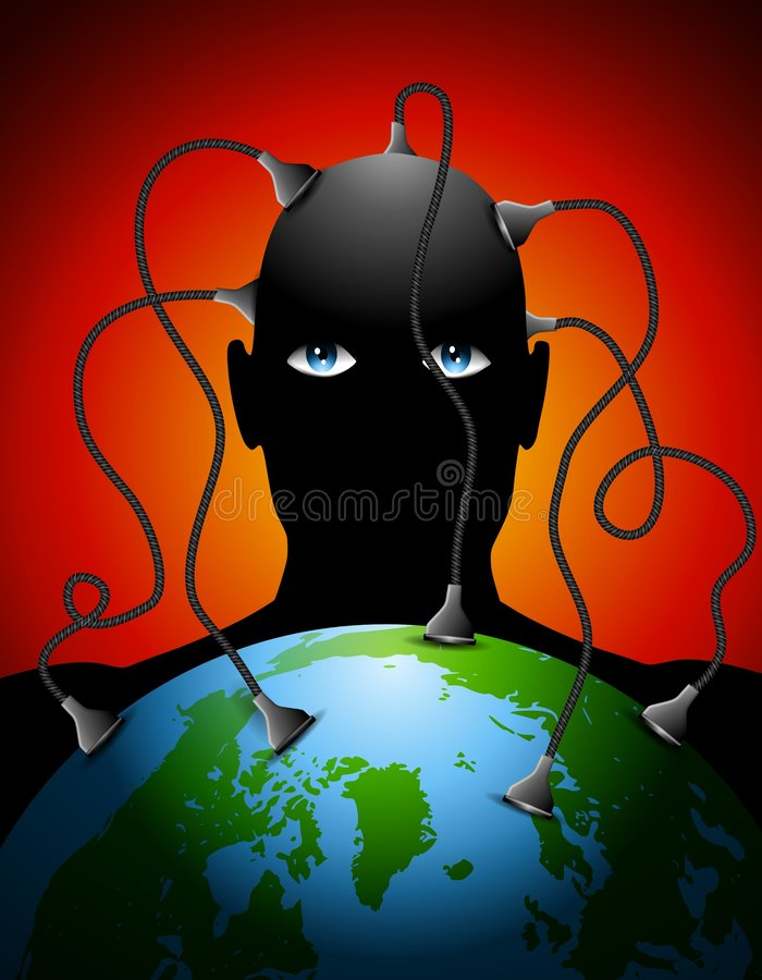 Man Plugged Into Earth. An illustration featuring a man with wires coming out of his head plugged into the planet Earth stock illustration