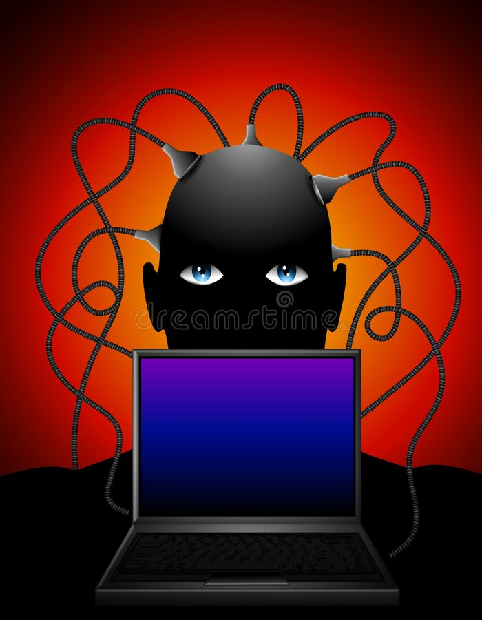 Man Plugged Into Laptop. An illustration featuring a man with wires coming out of his head plugged into a laptop computer stock illustration