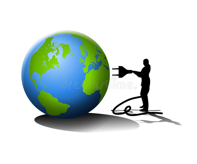 Man Plugging Into the Earth. An illustration featuring the silhouette of a man with a plug in his hand as if to 'plug' into the earth stock illustration
